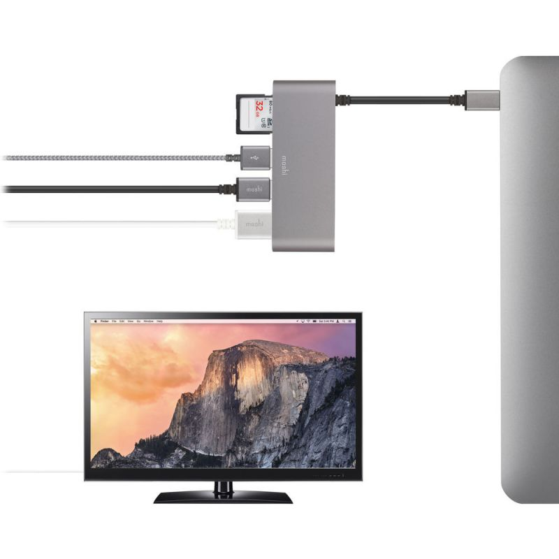 Adaptador de Multimedia USB-C a SD, HDMI y 2xUSB3 Moshi