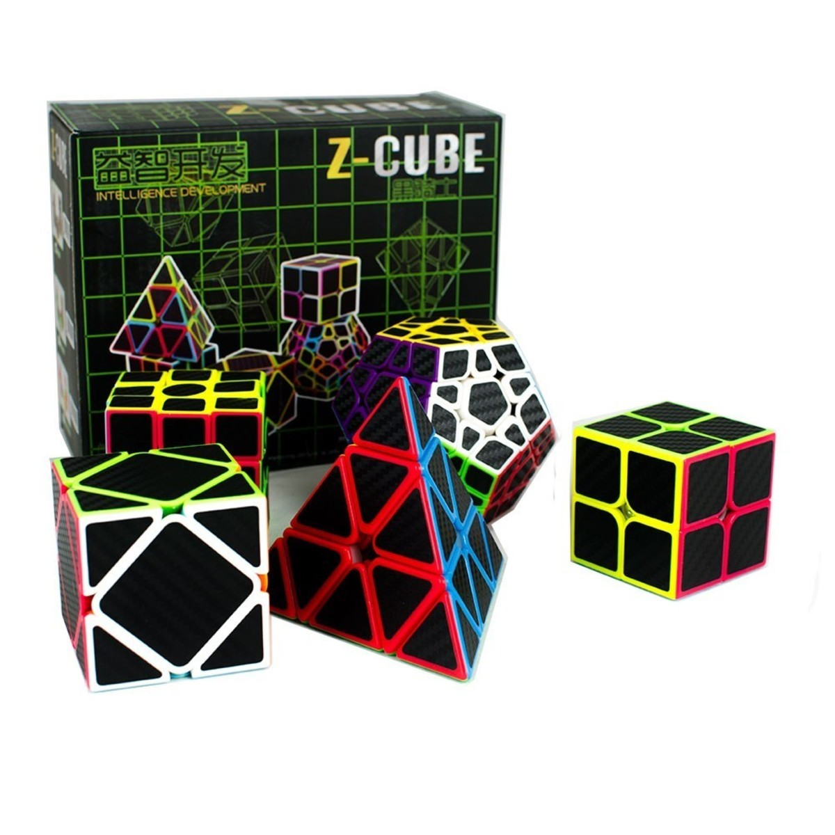 Set 5 Cubos Fibra Carbono