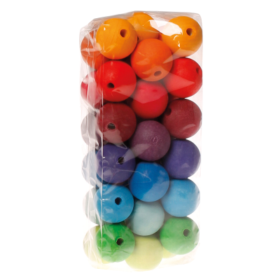 Set 36 bolas de madera perforadas grandes arcoíris Grimm's