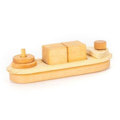 Barco de madera con encajes madera natural