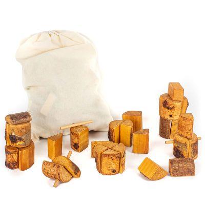 Bloques naturales 62 piezas madera natural