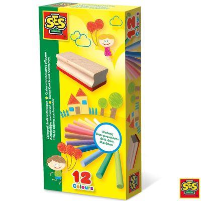 Set tiza antipolvo 12 colores + borrador Ses