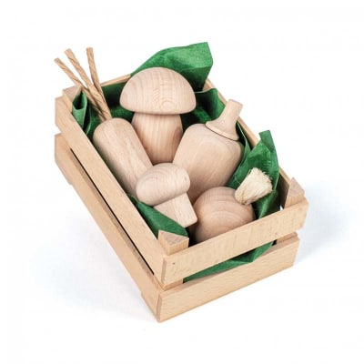 Surtido de verduras madera natural 6pz, formato pequeño