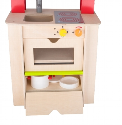 Centro de cocina de madera con accesorios