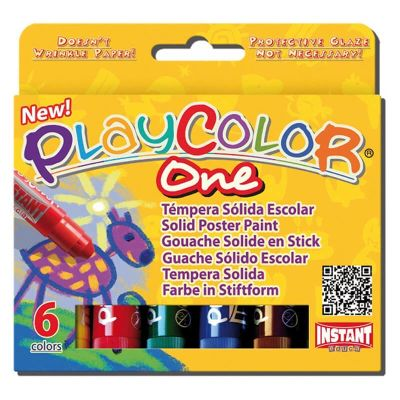 Témpera sólida escolar Playcolor 6 col.