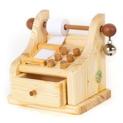 Caja registradora de madera natural