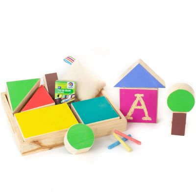 Bandeja bloques de madera con pizarra colores