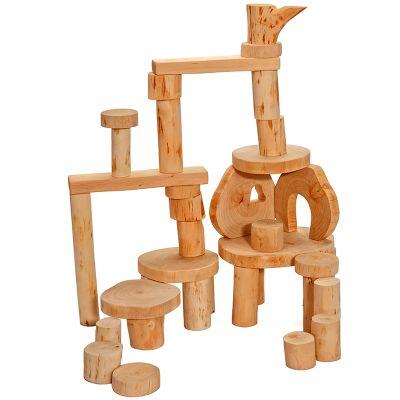 Set 36 ecobloques de madera sin corteza Magic Wood