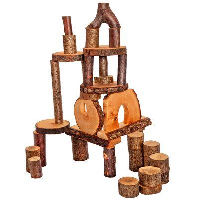 Set 72 ecobloques de madera con corteza Magic Wood