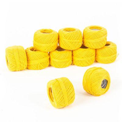 Hilo para bordar color amarillo 10grs 10 ovillos