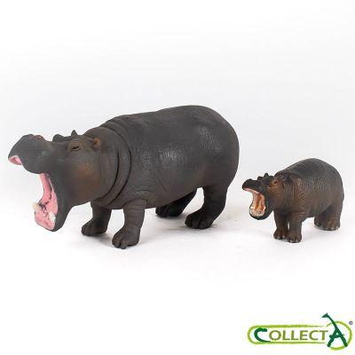 Hipopótamos mamá y bebé