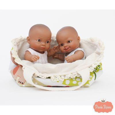 Muñecos bebés latinos niño y niña, incluye bolso tela