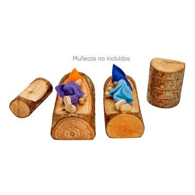 Juego dormitorio de madera con corteza Magic Wood, 4 pz