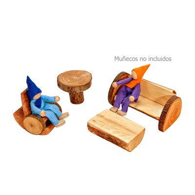 Juego living de madera con corteza Magic Wood, 4 pz