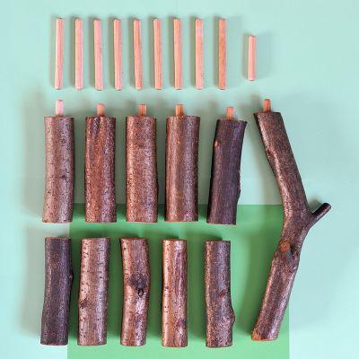 Casita del árbol grande de madera con corteza Magic Wood