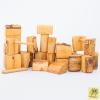 Bloques de madera natural con corteza línea waldorf