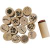 Set 15 sellos deco art madera, flores y hojas