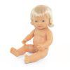 Muñeca europea niña con pelo 38cm