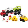 Abrick - Camión con vehículos y remolque 10pz