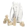 Bloques de construcción madera, 45pz + bolsa tela