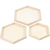 Set 3 bandejas hexagonales madera paulonia