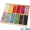 Caja organizadora + minipinzas de madera multicolor, 288 u.