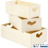 Set 3 cajas contenedoras madera manija corazón