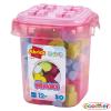 Caja rosa con bloques tipo lego 50pz