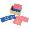 Caja letras de lija minúsculas Montessori