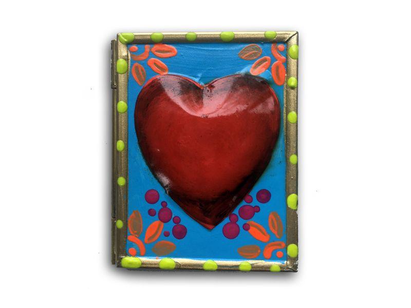 Espejo corazón azul