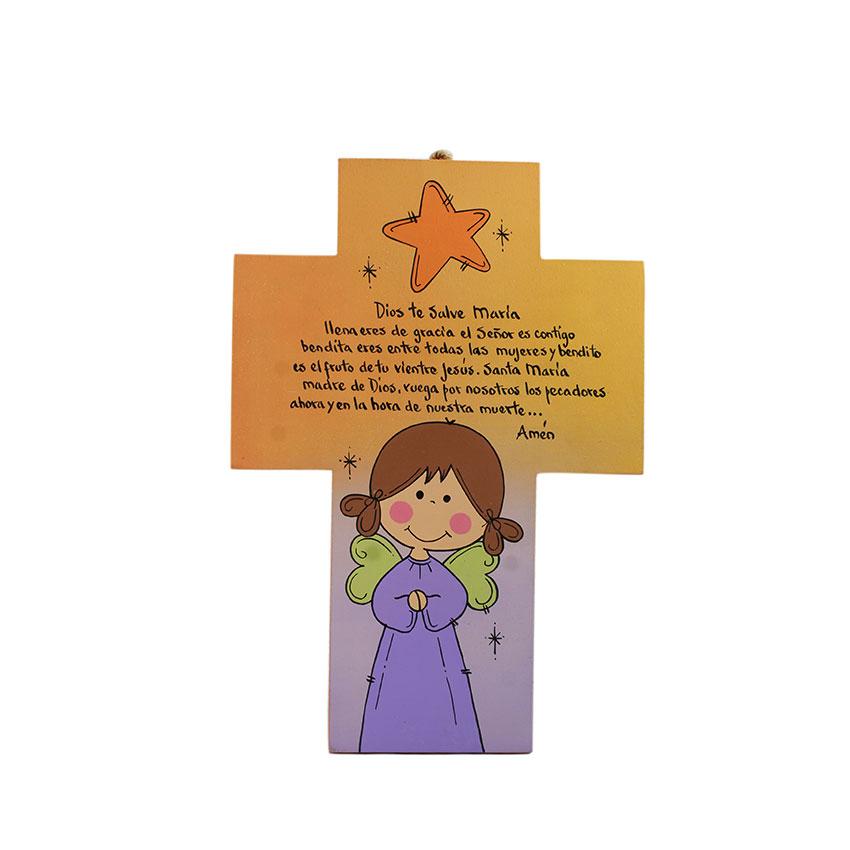 Cruz  infantil angel de la guarda o ave maría para colgar