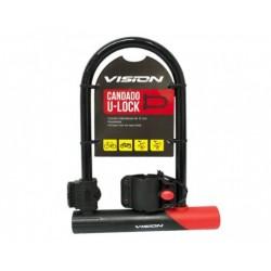 Candado U-Lock vision corto negro rojo