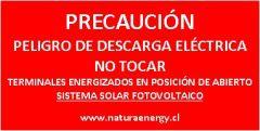 Placa Precaución Terminales Energizados en Posición Abierto
