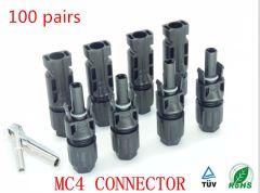 Conector MC4 Hembra y Macho (Par), 100 Unidades