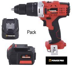 Pack Taladro Percutor + Cargador + Batería Power Pro Ion-Litio 2.0 Ah 18V