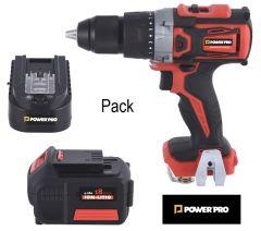 Pack Taladro Atornillador + Cargador + Batería Power Pro Ion-Litio 2.0 Ah 18V