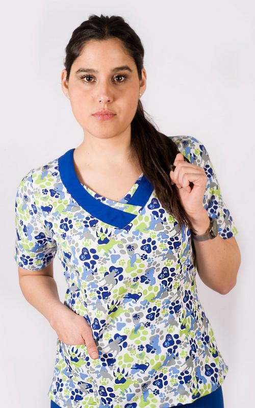 Scrubs Medico TENS Modelo Cala Patitas Azul Rey