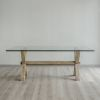 Mesa comedor base crucetas cubierta vidrio 120 x 220