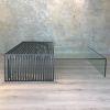 mesa centro doble altura corchete vidrio/metal