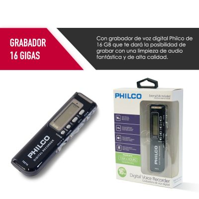 GRABADORA DE VOZ DIGITAL PHILCO 78216 16gb