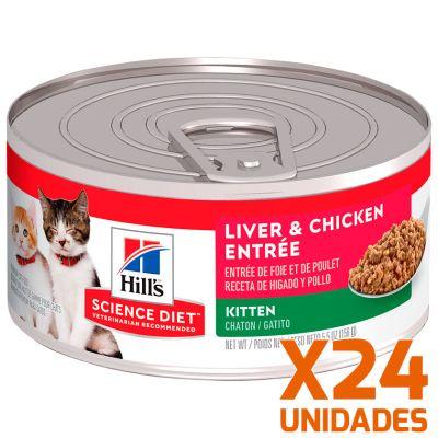 Hills Lata Cat Kitten - Receta de Higado de Pollo Pack 24 Unidades
