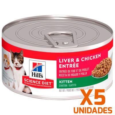 Hills Lata Cat Kitten - Receta de Higado de Pollo Pack 5 Unidades