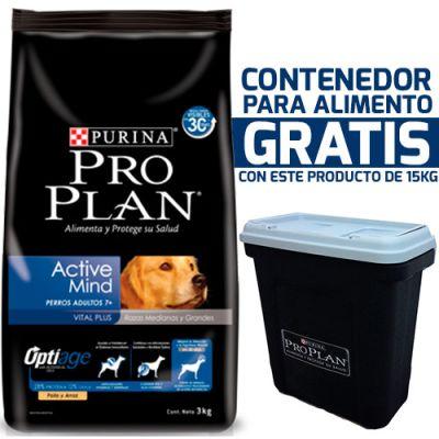 Purina Pro Plan Active Mind 7+ Medium and Large con OptiAge + Contenedor Gratis!