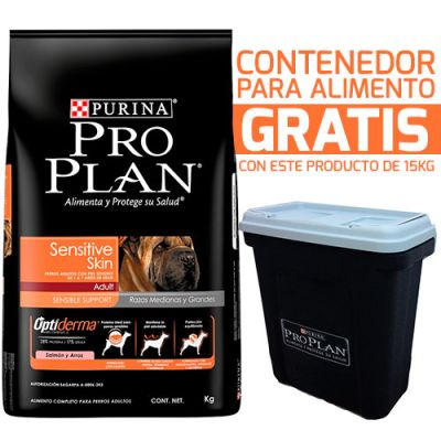 Purina Pro Plan Adult Sensitive Skin con OptiDerma 15KG + Contenedor Gratis!