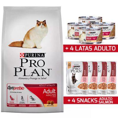 Purina Pro Plan Cat Adulto con OptiStart 1KG + 4 Snack + 4 Latas