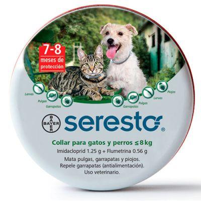 Seresto Collar antipulgas para Perros y Gatos de menos de 8kg