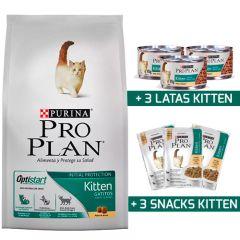 Purina Pro Plan Cat Kitten con OptiStart 1KG + 3 Snack + 3 Latas