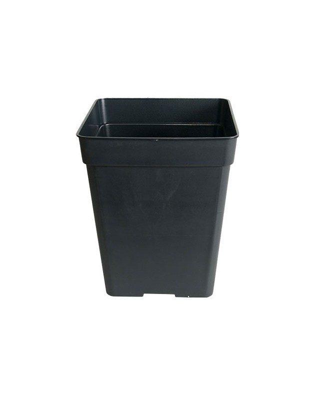 Maceta cuadrada plástico negro 11L