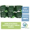 Papel Higiénico Premium Ecológico Green Care 100% Reciclado 6 Rollos 44m