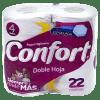 Papel Higiénico Confort Doble Hoja 22 metros 4 Rollos